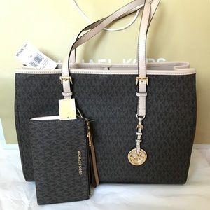 💦🌻mk tote set🌻shoulder bag & wallet/large/brown